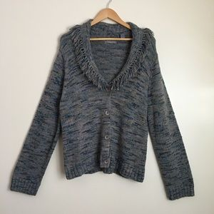 Kate Hill Knit Cardigan Sweater with Fringe Detail